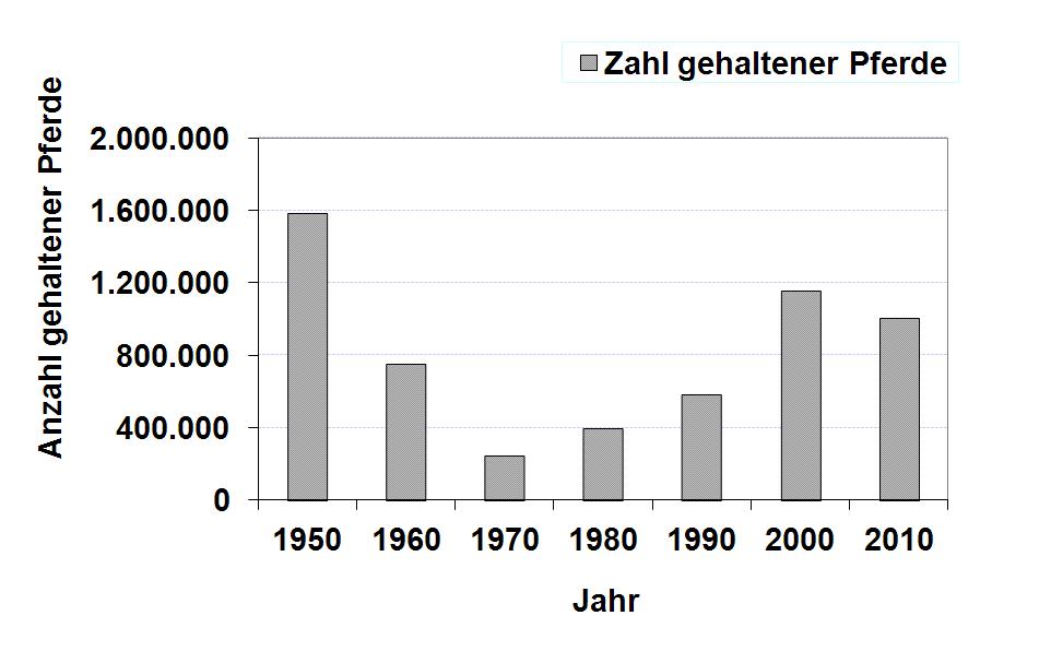 Zahl gehaltener Pferde je Jahr
